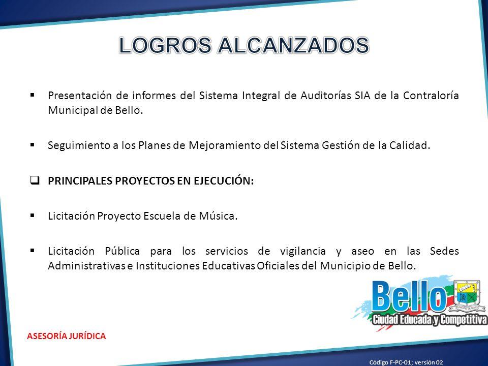 LOGROS ALCANZADOS Presentación de informes del Sistema Integral de Auditorías SIA de la Contraloría Municipal de Bello.