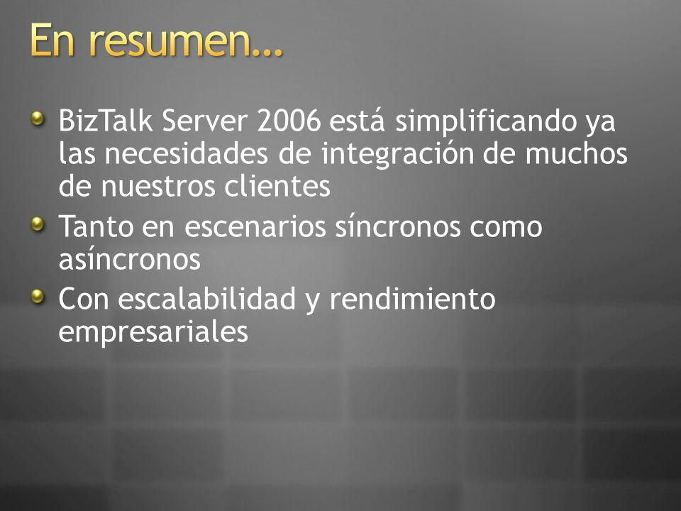 En resumen… BizTalk Server 2006 está simplificando ya las necesidades de integración de muchos de nuestros clientes.