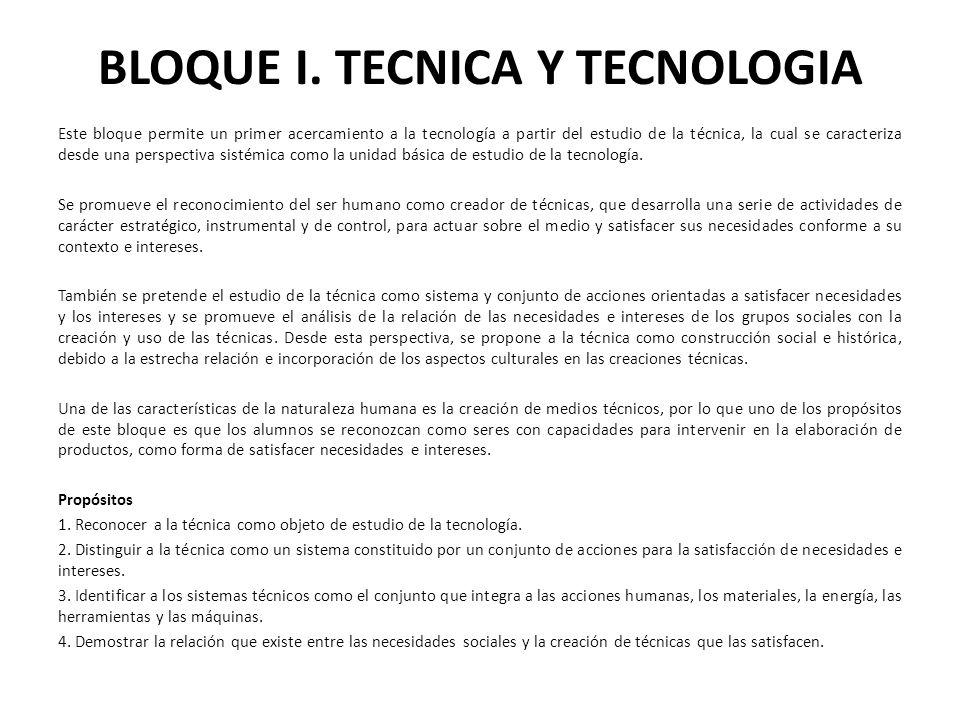 BLOQUE I. TECNICA Y TECNOLOGIA
