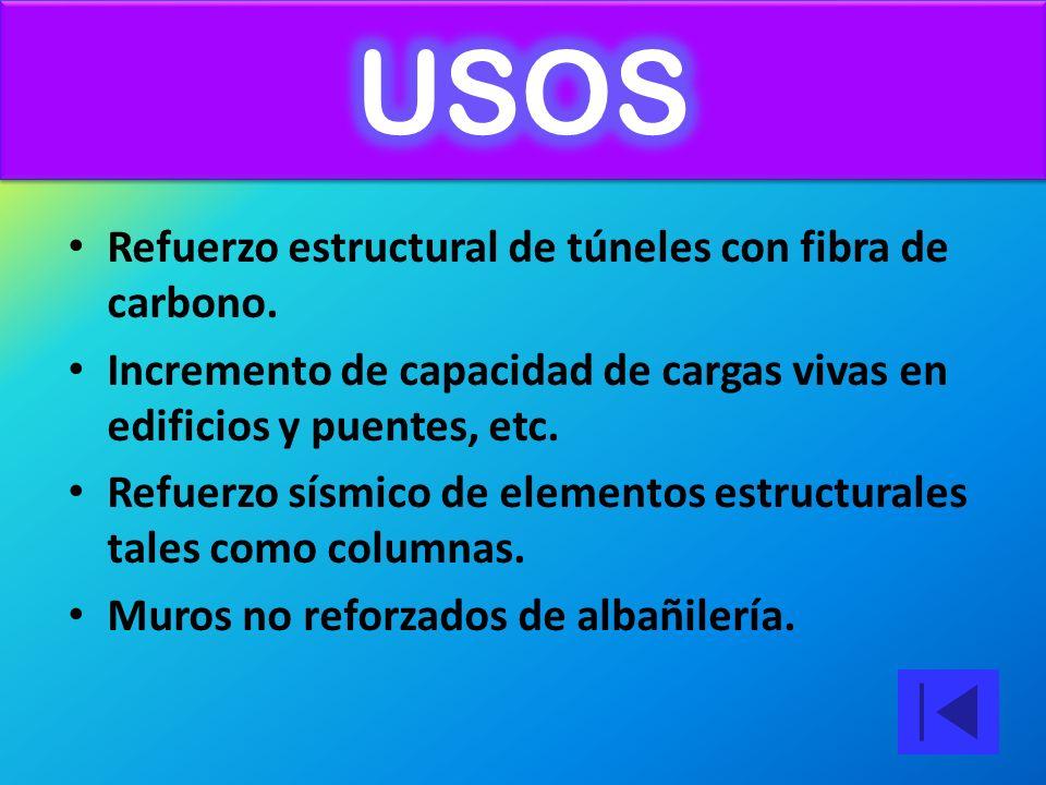 USOS Refuerzo estructural de túneles con fibra de carbono.