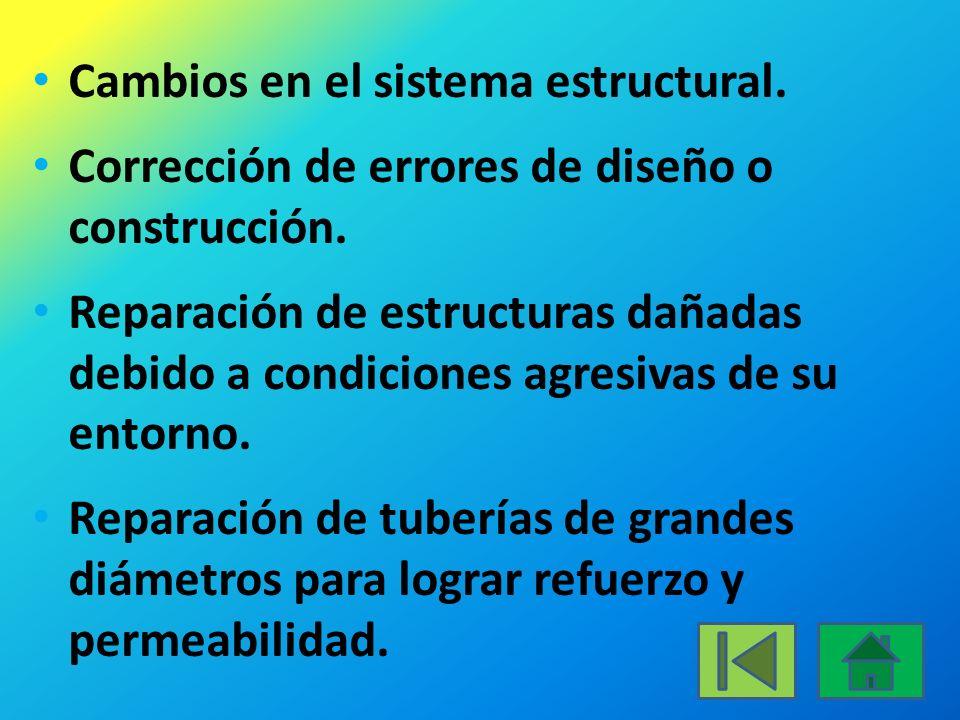 Cambios en el sistema estructural.