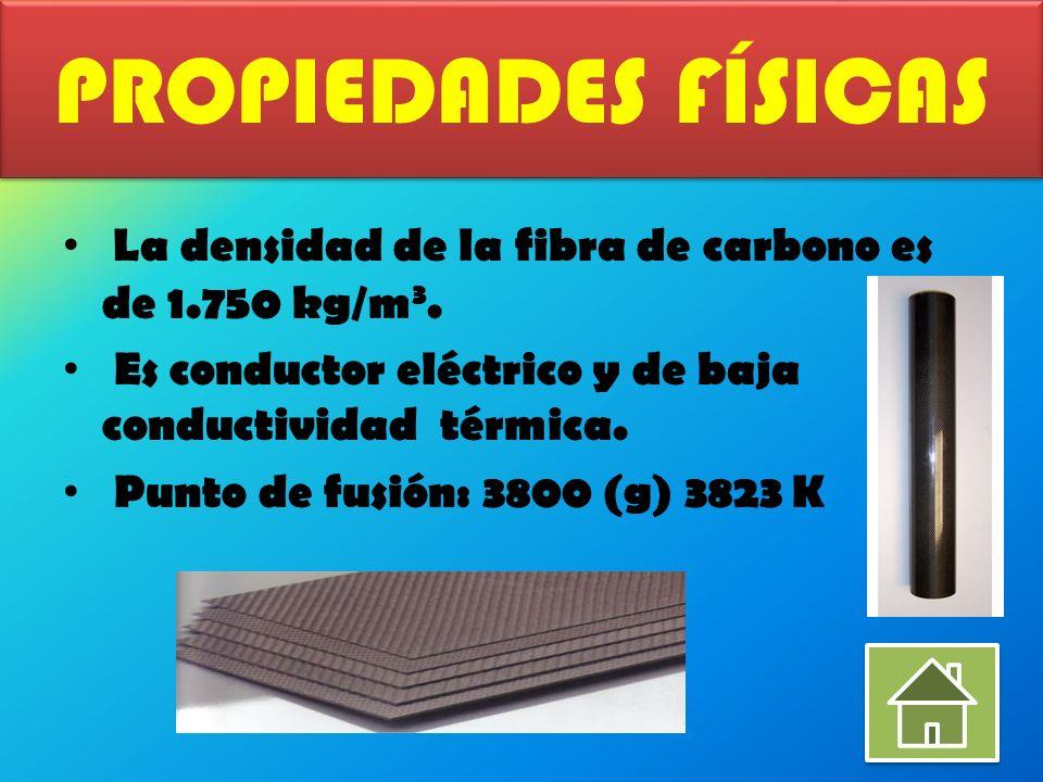 PROPIEDADES FÍSICAS La densidad de la fibra de carbono es de 1.750 kg/m3. Es conductor eléctrico y de baja conductividad térmica.