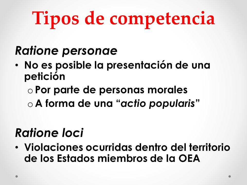 Tipos de competencia Ratione personae Ratione loci