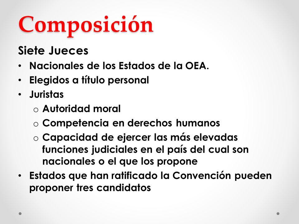 Composición Siete Jueces Nacionales de los Estados de la OEA.