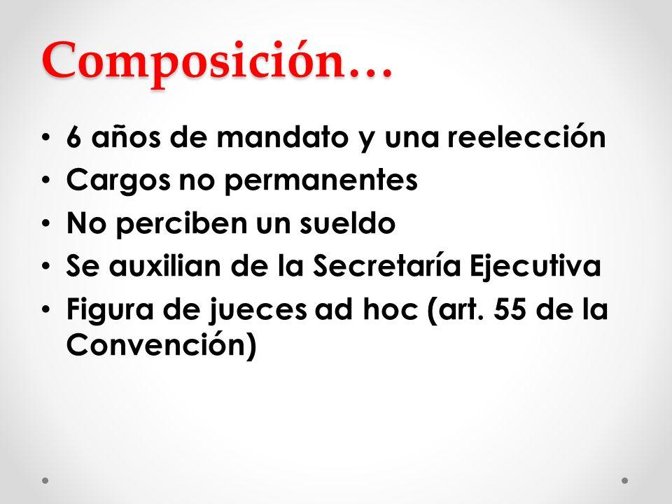 Composición… 6 años de mandato y una reelección Cargos no permanentes