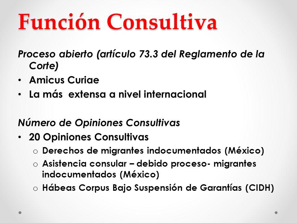 Función Consultiva Proceso abierto (artículo 73.3 del Reglamento de la Corte) Amicus Curiae. La más extensa a nivel internacional.
