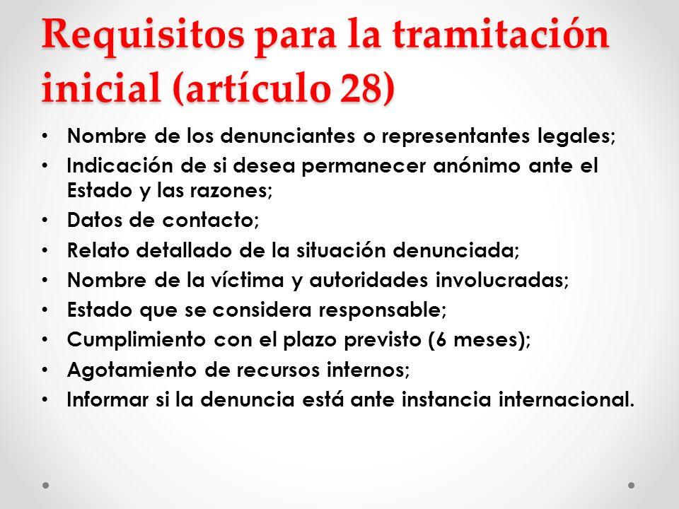 Requisitos para la tramitación inicial (artículo 28)