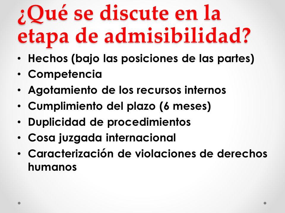 ¿Qué se discute en la etapa de admisibilidad