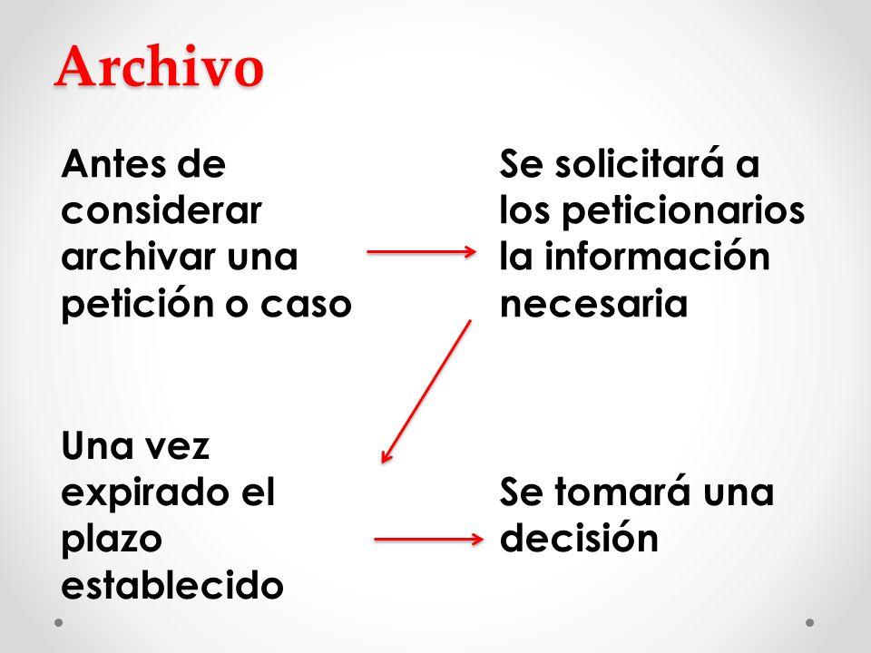 Archivo Antes de considerar archivar una petición o caso