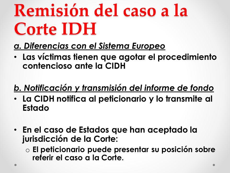 Remisión del caso a la Corte IDH