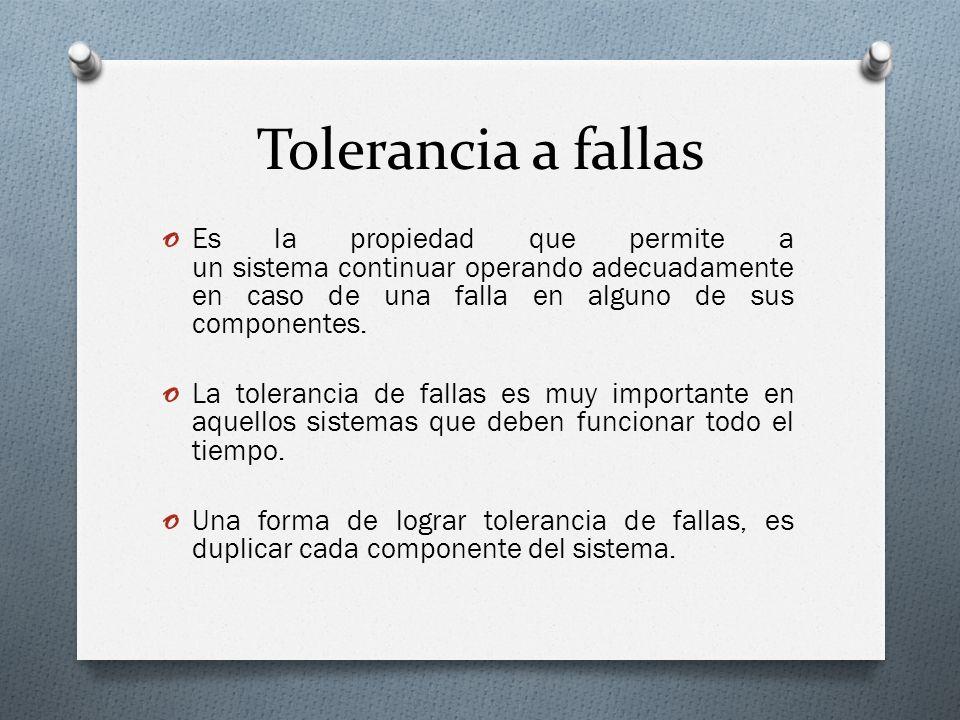 Tolerancia a fallas Es la propiedad que permite a un sistema continuar operando adecuadamente en caso de una falla en alguno de sus componentes.