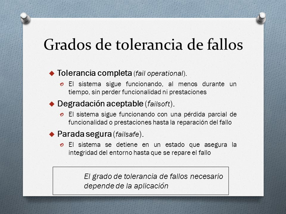 Grados de tolerancia de fallos