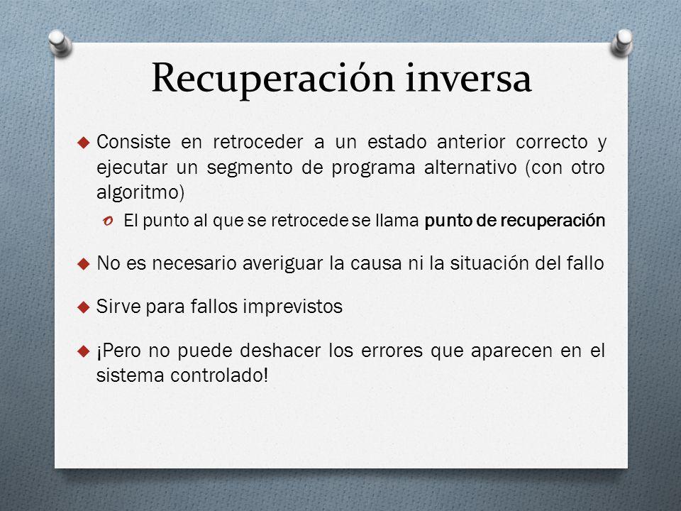 Recuperación inversa Consiste en retroceder a un estado anterior correcto y ejecutar un segmento de programa alternativo (con otro algoritmo)