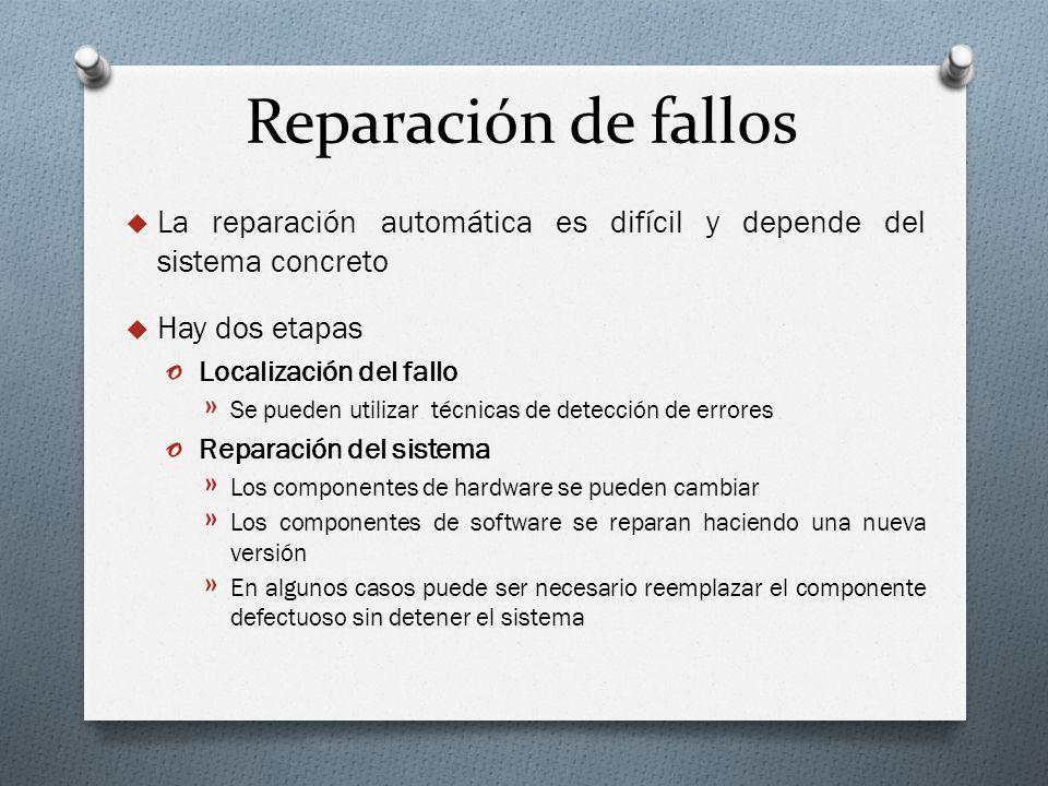 Reparación de fallos La reparación automática es difícil y depende del sistema concreto. Hay dos etapas.