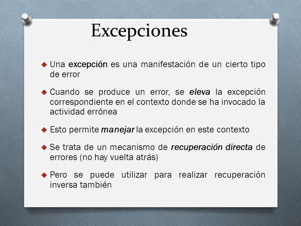 Excepciones Una excepción es una manifestación de un cierto tipo de error.