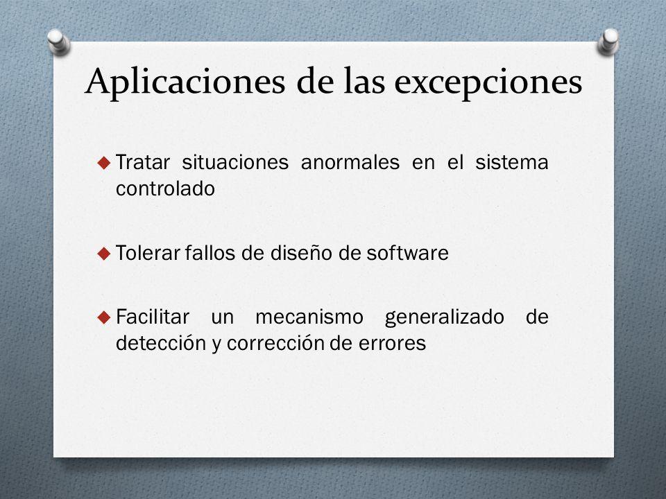 Aplicaciones de las excepciones