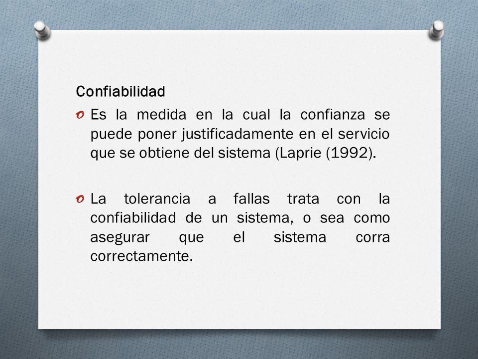 Confiabilidad Es la medida en la cual la confianza se puede poner justificadamente en el servicio que se obtiene del sistema (Laprie (1992).