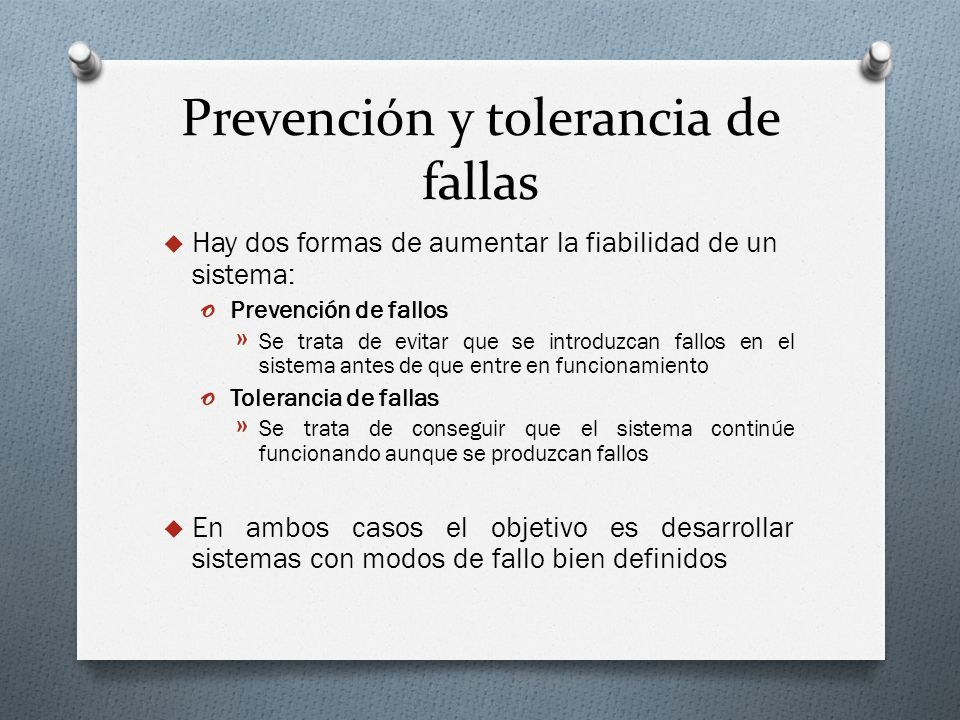 Prevención y tolerancia de fallas