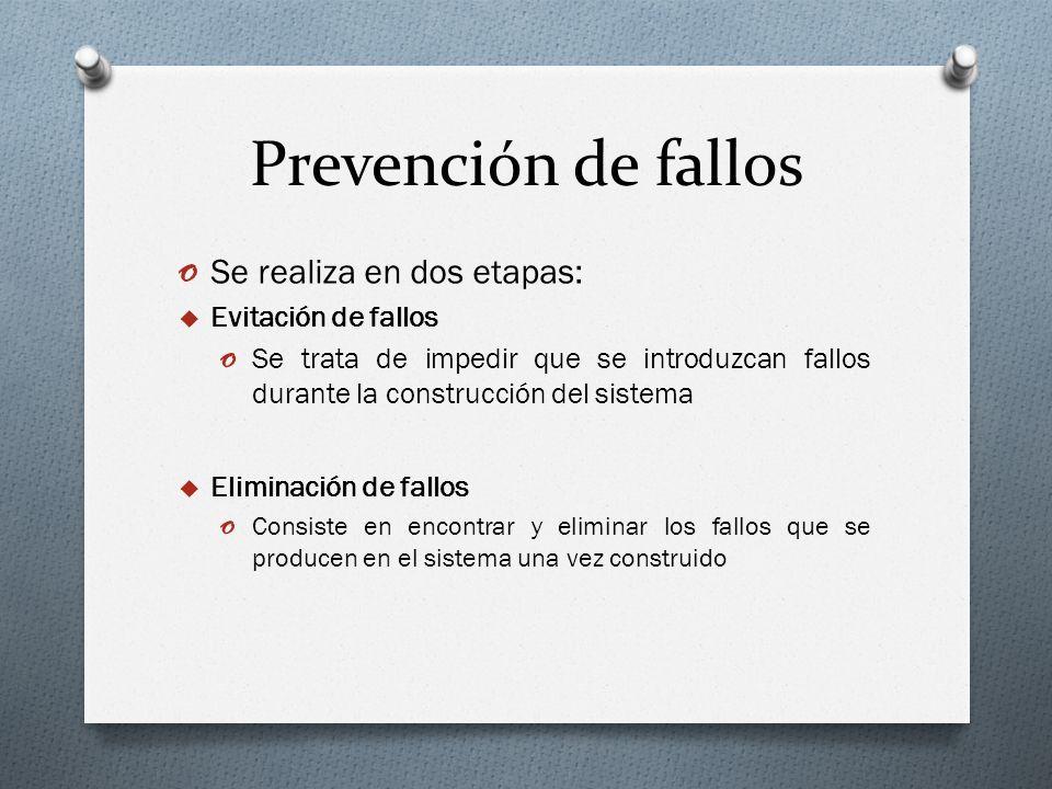 Prevención de fallos Se realiza en dos etapas: Evitación de fallos