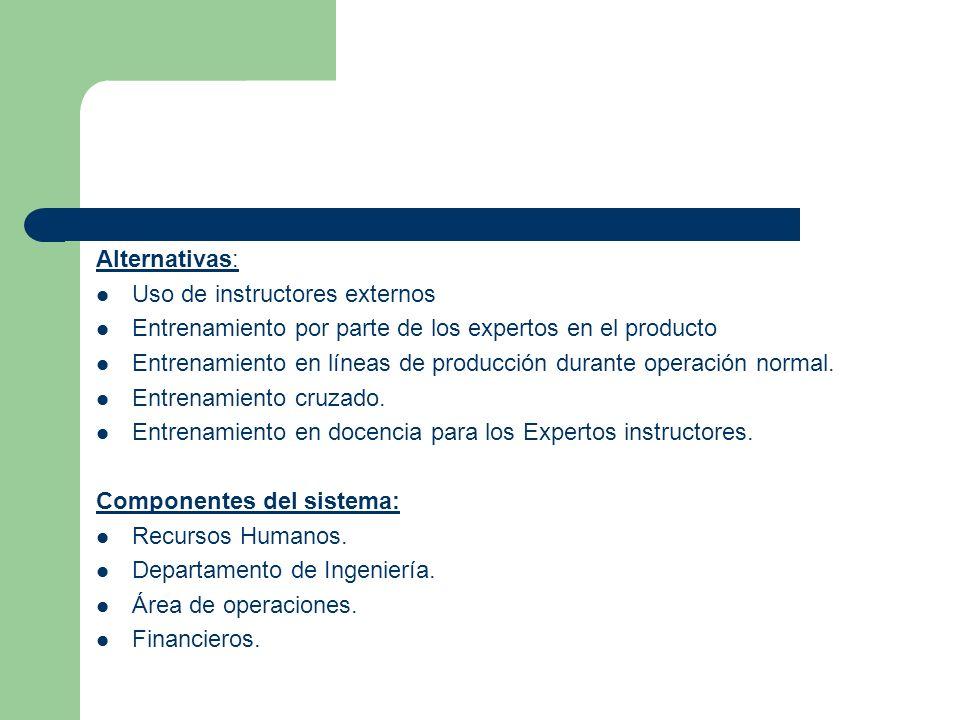 Alternativas: Uso de instructores externos. Entrenamiento por parte de los expertos en el producto.