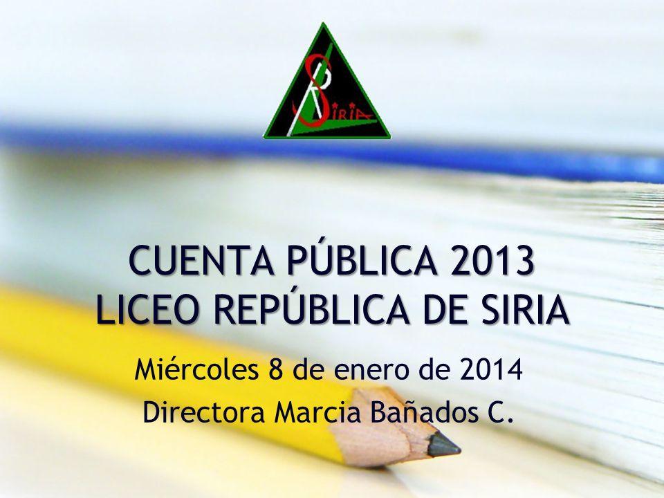 CUENTA PÚBLICA 2013 LICEO REPÚBLICA DE SIRIA