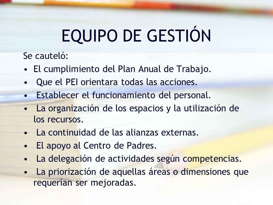 EQUIPO DE GESTIÓN Se cauteló: