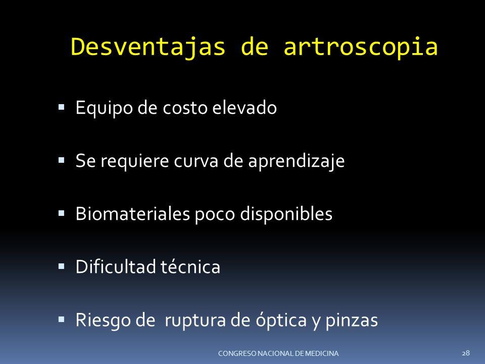 Desventajas de artroscopia