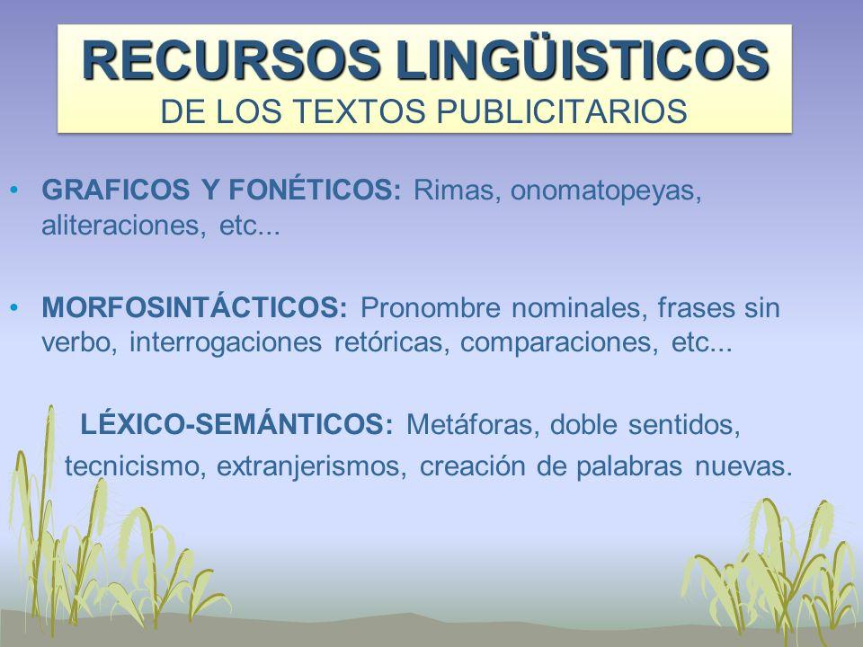 RECURSOS LINGÜISTICOS DE LOS TEXTOS PUBLICITARIOS