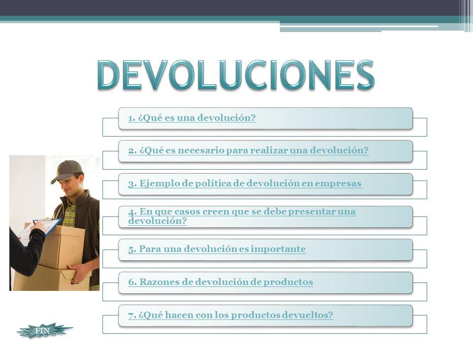 DEVOLUCIONES FIN 1. ¿Qué es una devolución