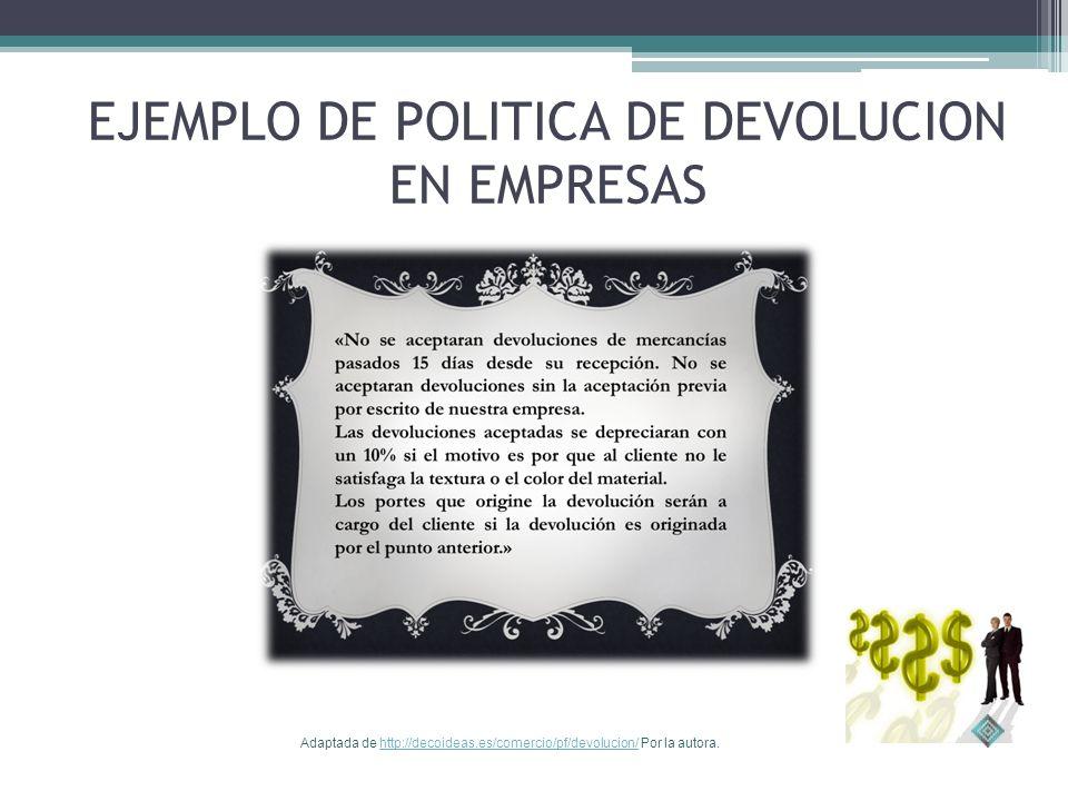 EJEMPLO DE POLITICA DE DEVOLUCION EN EMPRESAS