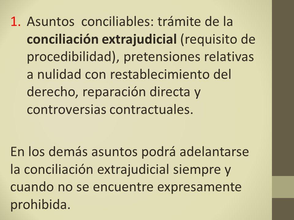Asuntos conciliables: trámite de la conciliación extrajudicial (requisito de procedibilidad), pretensiones relativas a nulidad con restablecimiento del derecho, reparación directa y controversias contractuales.