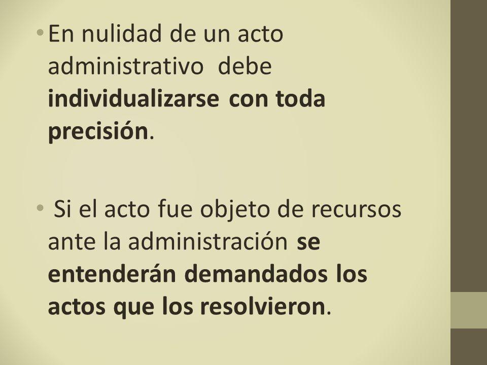 En nulidad de un acto administrativo debe individualizarse con toda precisión.