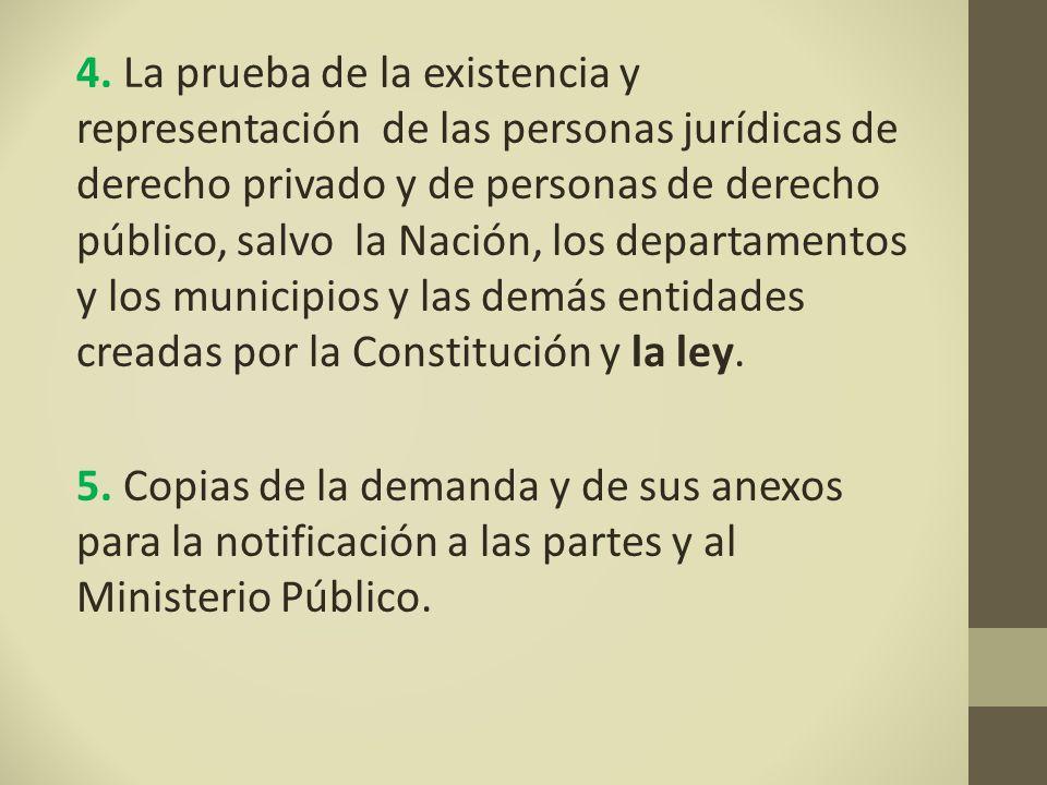 4. La prueba de la existencia y representación de las personas jurídicas de derecho privado y de personas de derecho público, salvo la Nación, los departamentos y los municipios y las demás entidades creadas por la Constitución y la ley.