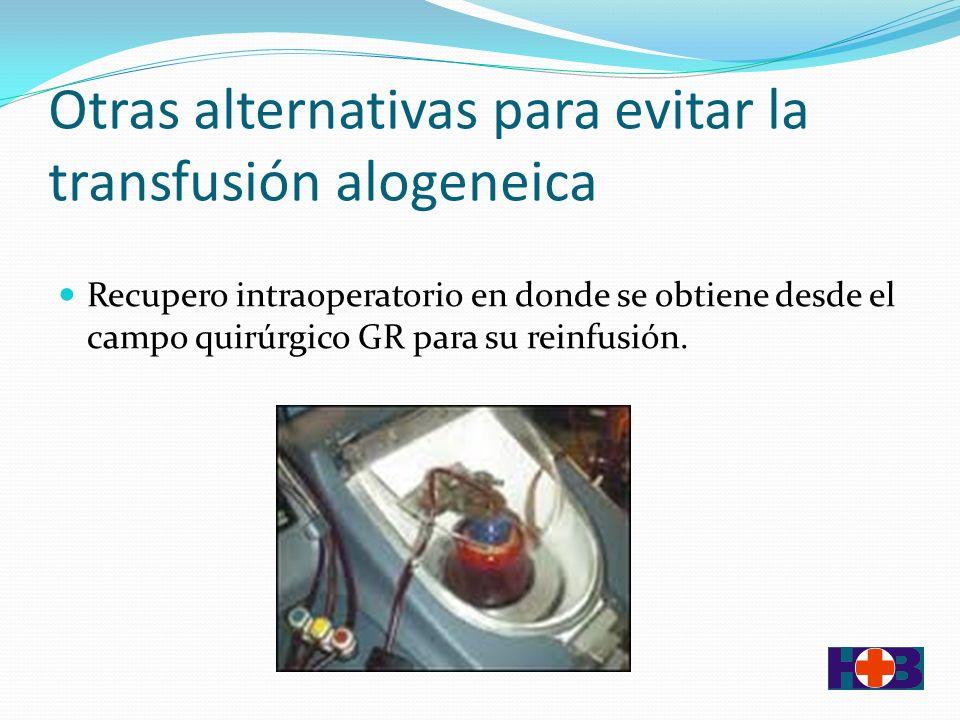 Otras alternativas para evitar la transfusión alogeneica