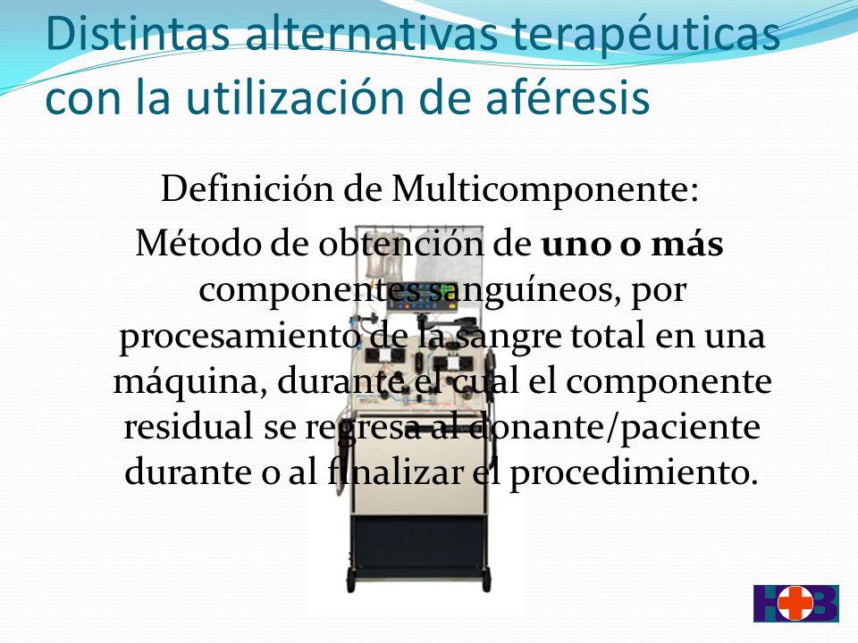 Distintas alternativas terapéuticas con la utilización de aféresis