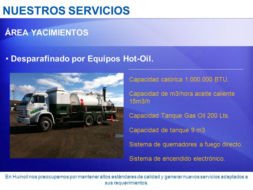 NUESTROS SERVICIOS Desparafinado por Equipos Hot-Oil. ÁREA YACIMIENTOS
