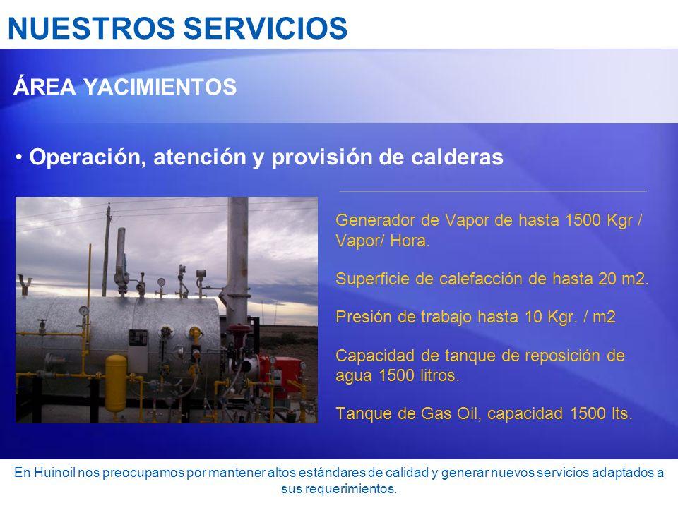 NUESTROS SERVICIOS Operación, atención y provisión de calderas