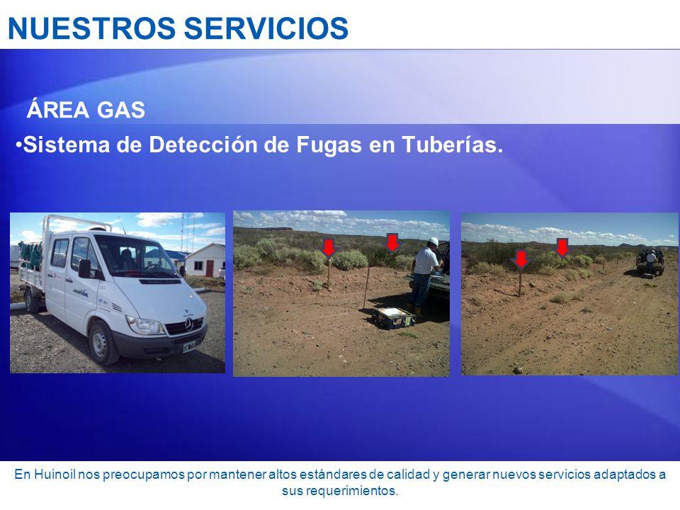 NUESTROS SERVICIOS Sistema de Detección de Fugas en Tuberías. ÁREA GAS