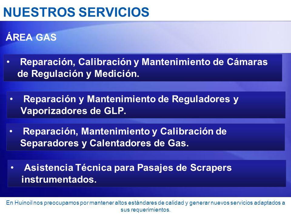 NUESTROS SERVICIOS ÁREA GAS. Reparación, Calibración y Mantenimiento de Cámaras de Regulación y Medición.