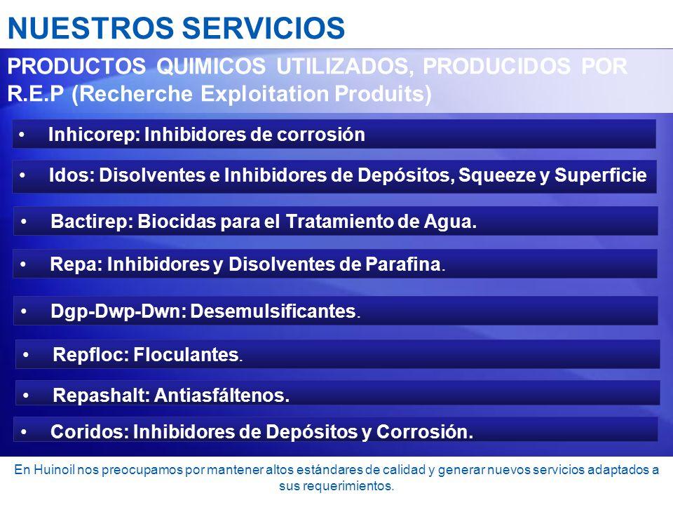 NUESTROS SERVICIOS PRODUCTOS QUIMICOS UTILIZADOS, PRODUCIDOS POR R.E.P (Recherche Exploitation Produits)