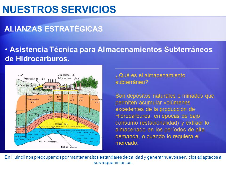 NUESTROS SERVICIOS ALIANZAS ESTRATÉGICAS. Asistencia Técnica para Almacenamientos Subterráneos de Hidrocarburos.