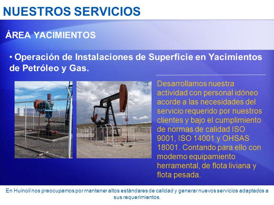NUESTROS SERVICIOS ÁREA YACIMIENTOS. Operación de Instalaciones de Superficie en Yacimientos de Petróleo y Gas.
