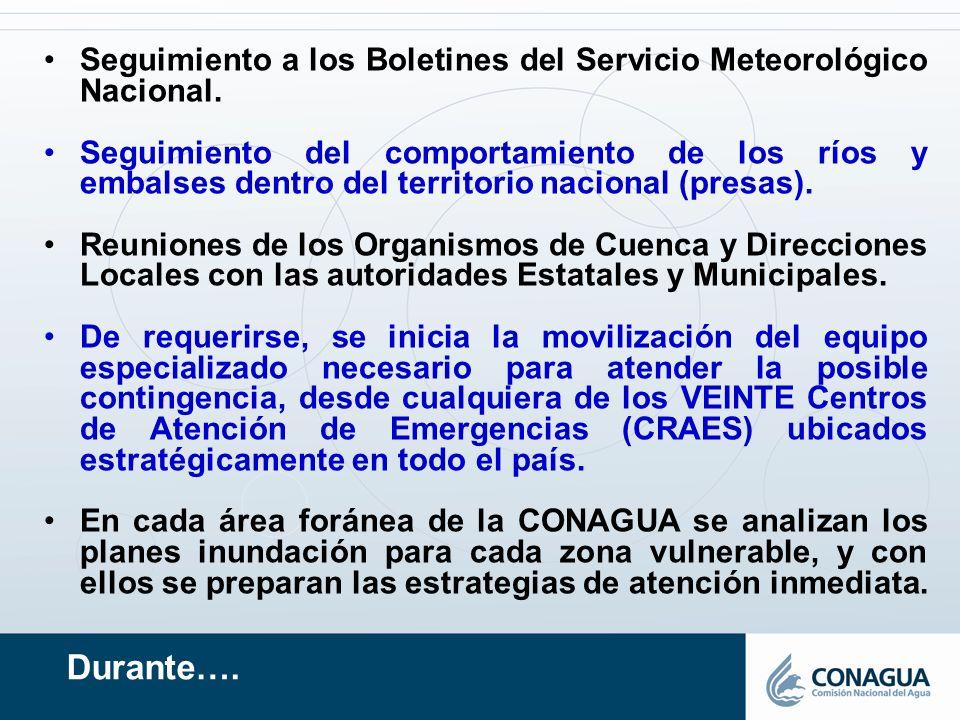 Seguimiento a los Boletines del Servicio Meteorológico Nacional.