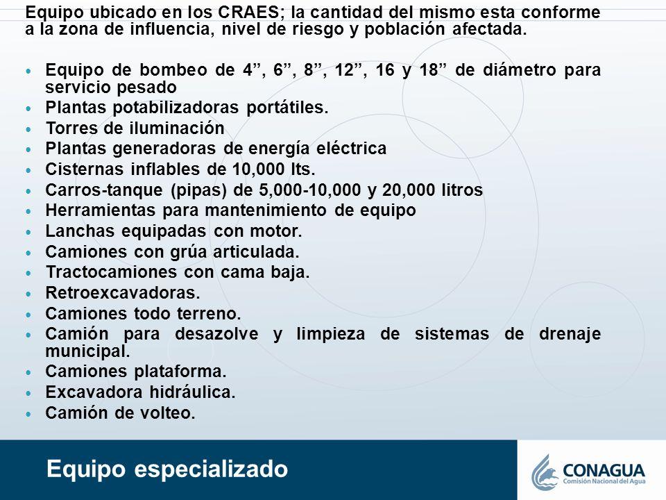 Equipo ubicado en los CRAES; la cantidad del mismo esta conforme a la zona de influencia, nivel de riesgo y población afectada.