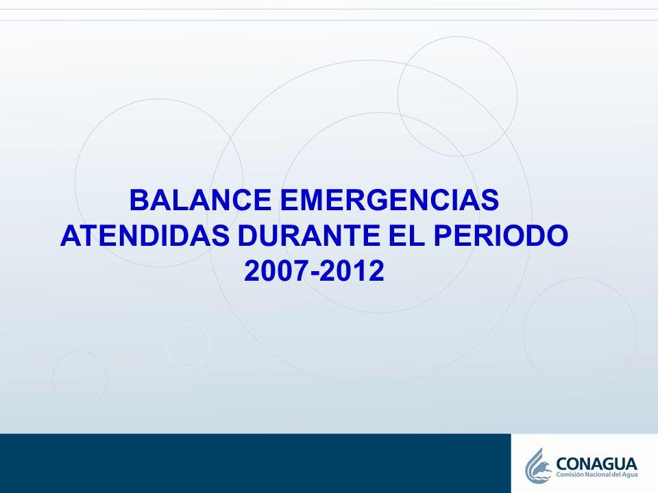 BALANCE EMERGENCIAS ATENDIDAS DURANTE EL PERIODO 2007-2012