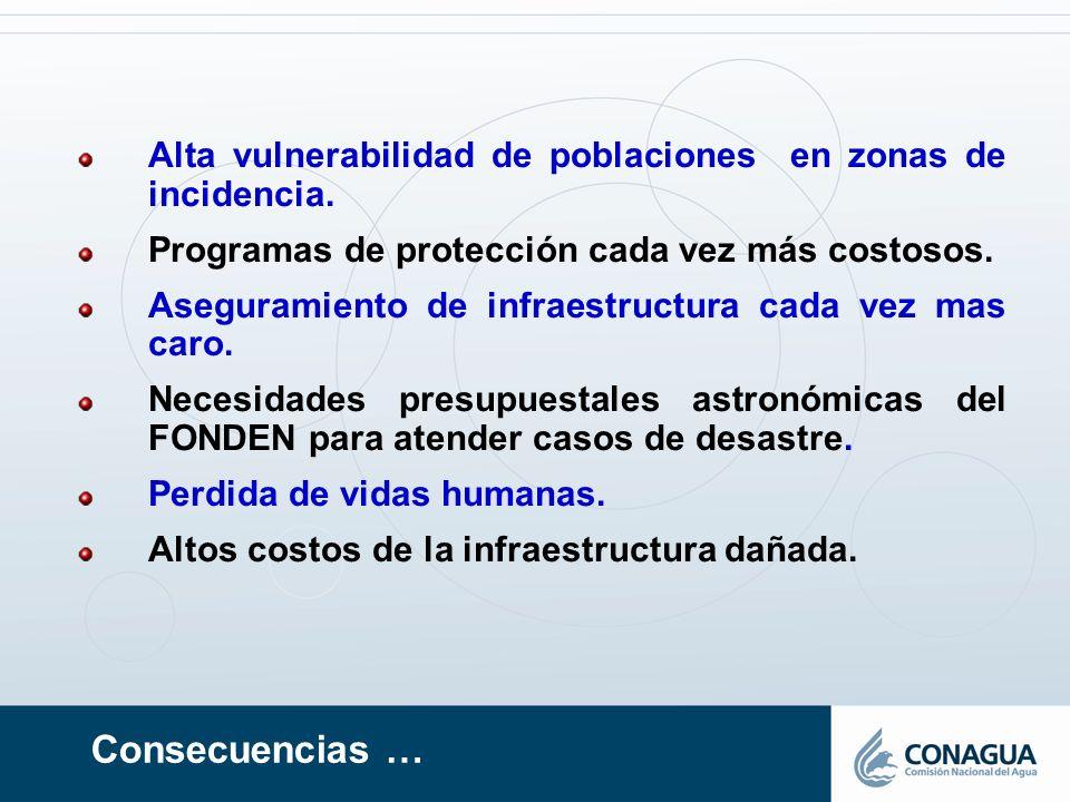 Alta vulnerabilidad de poblaciones en zonas de incidencia.