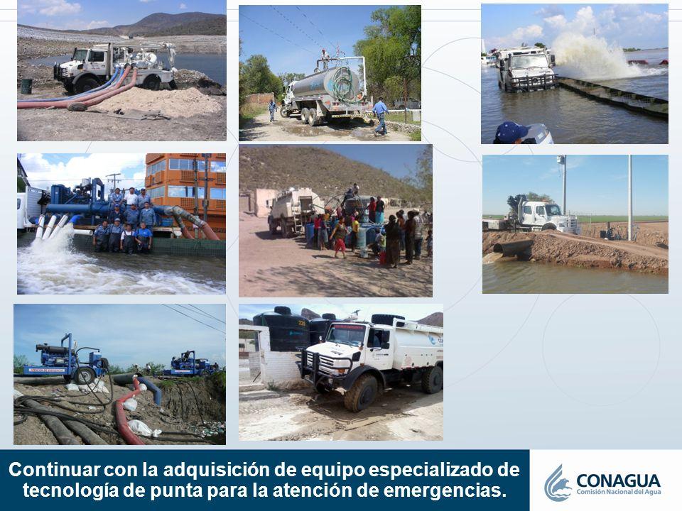 Continuar con la adquisición de equipo especializado de tecnología de punta para la atención de emergencias.