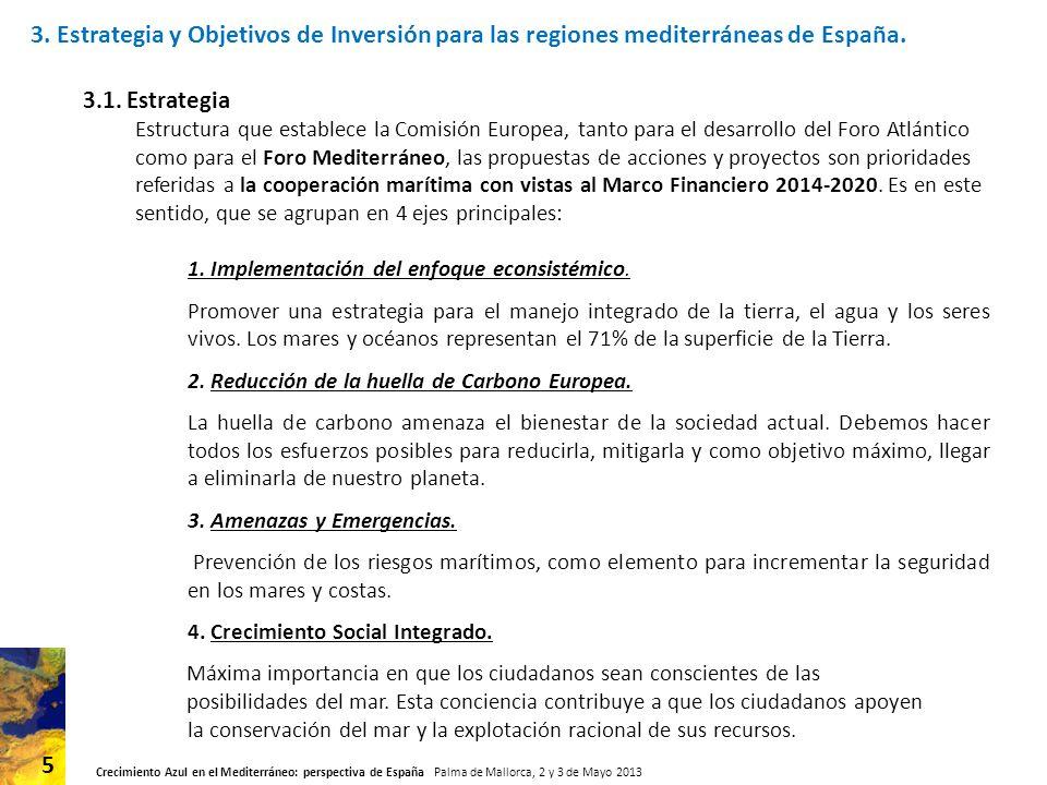 3. Estrategia y Objetivos de Inversión para las regiones mediterráneas de España.