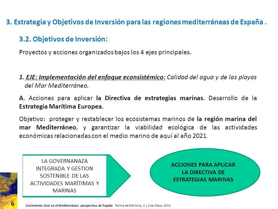 ACCIONES PARA APLICAR LA DIRECTIVA DE ESTRATEGIAS MARINAS