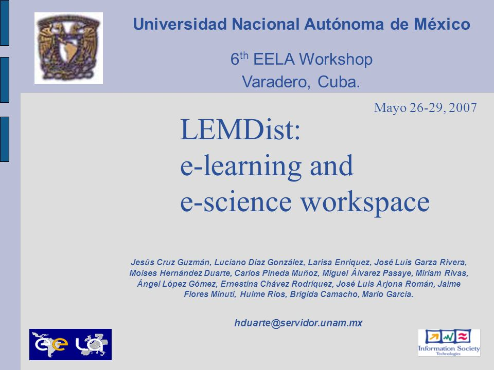 LEMDist: e-learning and e-science workspace